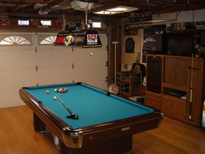 Playing pool inside a Cleveland Area garage